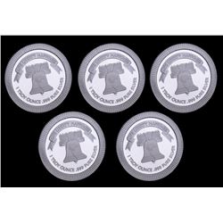 Lot of (5) 1 oz Liberty Bell Stackable Silver Bullion Rounds