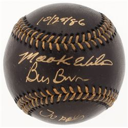 Bill Buckner  Mookie Wilson Signed OML Black Leather Baseball Inscribed  10/25/86    Oops  (PSA COA)