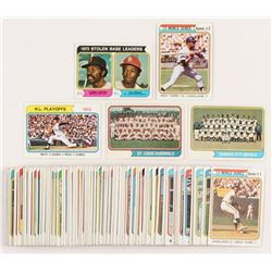 Lot of (110) 1974 Topps Baseball Cards with #204 Stolen Base Leaders / Tommy Harper / Lou Brock, Wor