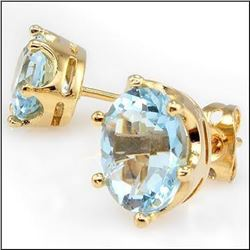 4.62 CT Swiss Blue Topaz Stud Designer Earrings