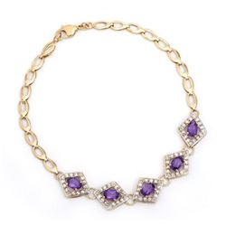 7.88 CT Amethyst  Diamond Designer Bracelet