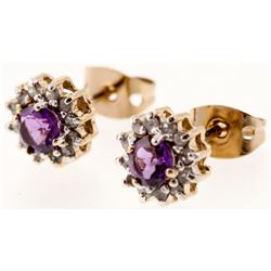 3.72 CT Amethyst  Diamond Elegant Earrings