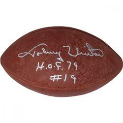 Johnny Unitas Signed Football Inscribed  H.O.F. 79  (JSA LOA)