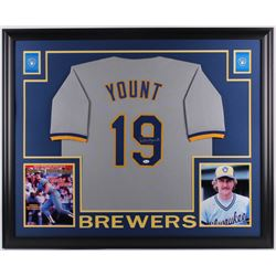 Robin Yount Signed Milwaukee Brewers 35x43 Custom Framed Jersey (JSA Hologram)