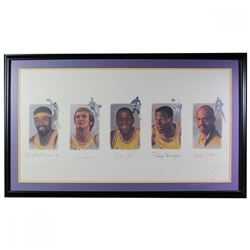Los Angeles Lakers Greats 24x42 Custom Framed LE Print Signed by (5) with Wilt Chamberlain, Jerry We