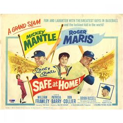 "Mickey Mantle Signed ""Safe at Home!"" 11x14 Movie Poster Print (PSA Hologram)"