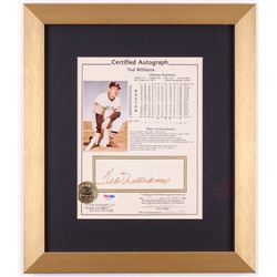 Ted Williams Signed Boston Red Sox 13x15 Custom Framed Career Highlight Stat Card (PSA COA)