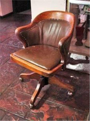 Antique Wood And Leather Desk Chair With Brass Tack Finish And Casters 34 X23 5x17