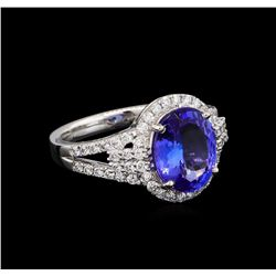 3.38 ctw Tanzanite and Diamond Ring - Platinum