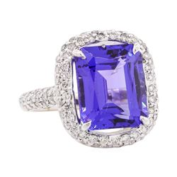 10.50 ctw Tanzanite And Diamond Ring - 18KT White Gold