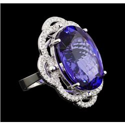 GIA Cert 25.82 ctw Tanzanite and Diamond Ring - 14KT White Gold