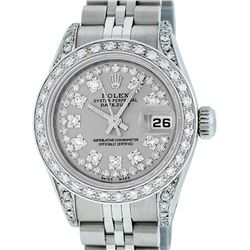 Rolex Ladies Stainless Steel 26MM Slate Grey String Diamond Lugs Datejust Wristw