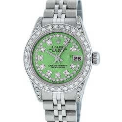 Rolex Ladies Stainless Steel Quickset Green Diamond Lugs Jubilee Datejust Wristw