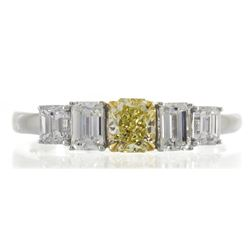 0.51 ctw Fancy Yellow Diamond Ring - 18KT Two-Tone Gold