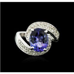 14KT White Gold 3.90 ctw Tanzanite and Diamond Ring
