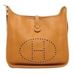 Hermes Gold Ardennes Leather Evelyne I GM Bag