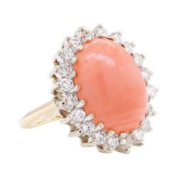 7.65 ctw Coral And Diamond Ring - 14KT Yellow And White Gold