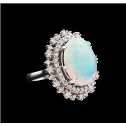 7.42 ctw Opal and Diamond Ring - 14KT White Gold
