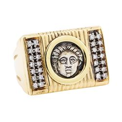 0.28 ctw Diamond Ring with Inset Coin - 18KT Yellow Gold