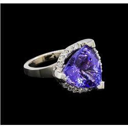 9.25 ctw Tanzanite and Diamond Ring - 14KT White Gold