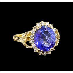 5.04 ctw Tanzanite and Diamond Ring - 14KT Yellow Gold
