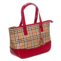 Burberry Tan Red Canvas Leather Haymarket Check Tote Bag