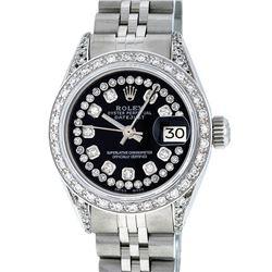 Rolex Ladies Stainless Steel 26MM Black Diamond Lugs Datejust Wristwatch