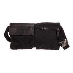 Gucci Black Monogram Canvas Leather Trim Waist Bag