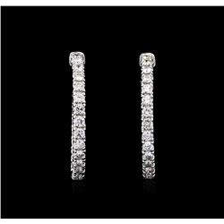 3.96 ctw Diamond Earrings - 14KT White Gold
