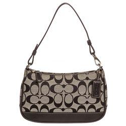 Coach Black Monogram Canvas Leather Trim Pochette Shoulder Handbag