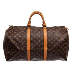 Louis Vuitton Monogram Canvas Leather Keepall 50 cm Duffle Bag Luggage