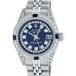 Rolex Ladies Stainless Steel Quickset Blue Diamond Lugs Datejust Wristwatch