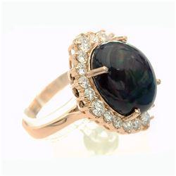 7.46 Carat Natural Diamonds & Opal Anniversary Ring in 14k Gold