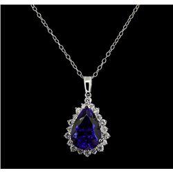 GIA Cert 16.66 ctw Tanzanite and Diamond Pendant With Chain - 14KT White Gold