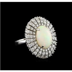 5.68 ctw Opal and Diamond Ring - 14KT White Gold