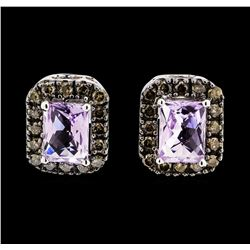2.00 ctw Amethyst and Brown Diamond Earrings - 14KT White Gold