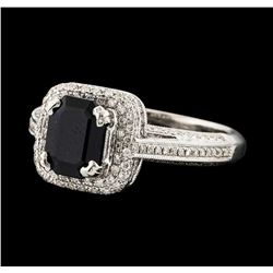 1.44 ctw Sapphire and Diamond Ring - 18KT White Gold