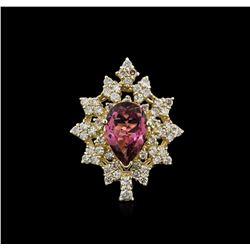 14KT Yellow Gold 3.57 ctw Tourmaline and Diamond Ring