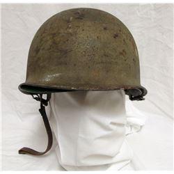 """WWII US M1 """"STEEL POT"""" HELMET - REAR SEAM"""