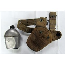 WWII US ARMY CANTEEN WITH PUCH AND PISTON BELT