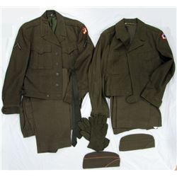 2 WWI UNIFORMS- ARMY SERVICE FORCES PATCHES