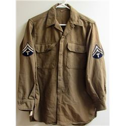 WWII US ARMY WOOL SHIRT WITH TECH 5TH CLASS GRAD