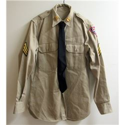 VIETNAM ERA US ARMY DRESS SHIRT WITH SGT RANK
