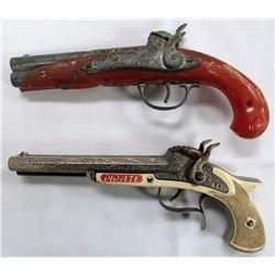 2- VINTAGE FLINTLOCK DOUBLE BARRELL TOY CAP GUNS