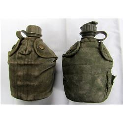 2- VINTAGE US ARMY 1 QUART CANTEENS WITH CANTEEN