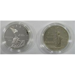 2 - PROOF SILVER COMMEM DOLLARS;