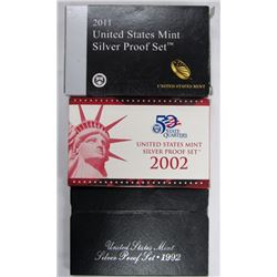 3- US SILVER PROOF SETS- 1992, 2002, 2011
