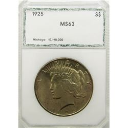 1925 PEACE DOLLAR PCI MS63