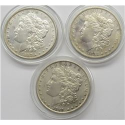 3-F/XF MORGAN DOLLARS, 1883, 1887,