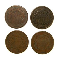 (4) 1865 TWO CENT PIECES